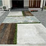 鉄平石と枕木を使ったアプローチ