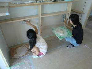 施主様珪藻土塗り体験