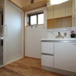 洗面台は木族の家標準仕様 タカラ エリシオ(スライド扉はオプション)
